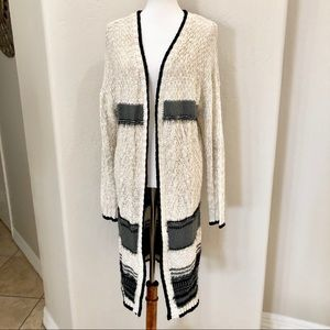 Poof! Long knit sweater neutral colors cardigan